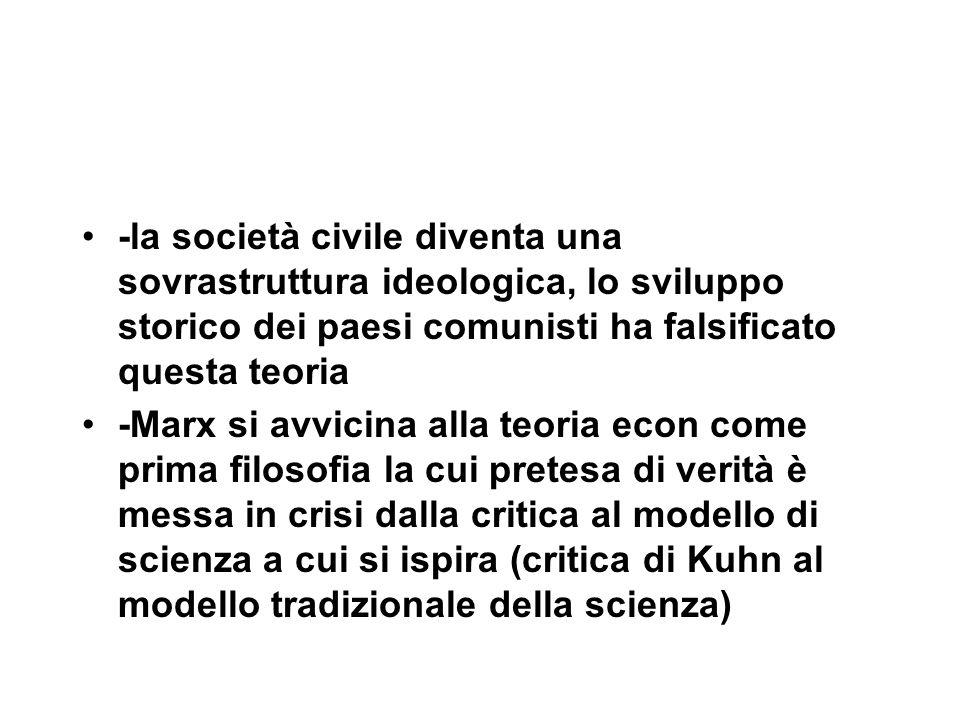 -la società civile diventa una sovrastruttura ideologica, lo sviluppo storico dei paesi comunisti ha falsificato questa teoria -Marx si avvicina alla