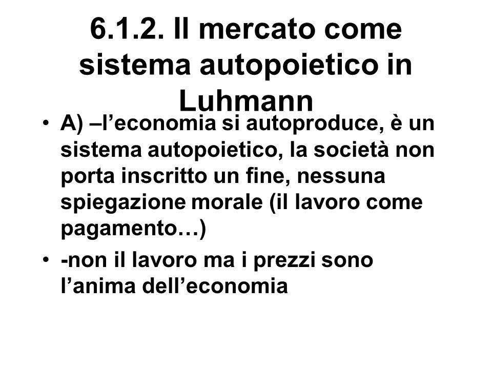 6.1.2. Il mercato come sistema autopoietico in Luhmann A) –l'economia si autoproduce, è un sistema autopoietico, la società non porta inscritto un fin