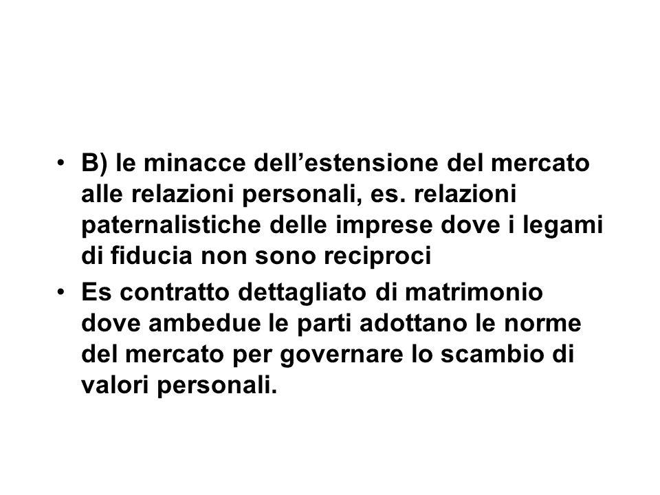 B) le minacce dell'estensione del mercato alle relazioni personali, es.