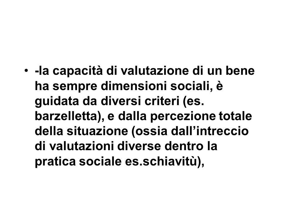 -la capacità di valutazione di un bene ha sempre dimensioni sociali, è guidata da diversi criteri (es. barzelletta), e dalla percezione totale della s