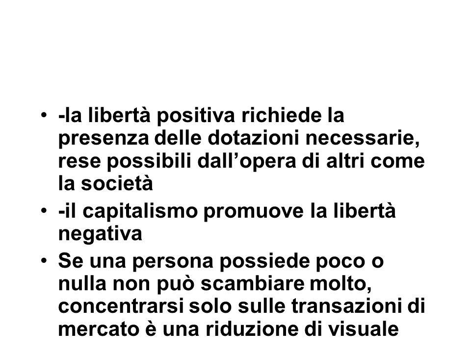 -la libertà positiva richiede la presenza delle dotazioni necessarie, rese possibili dall'opera di altri come la società -il capitalismo promuove la l