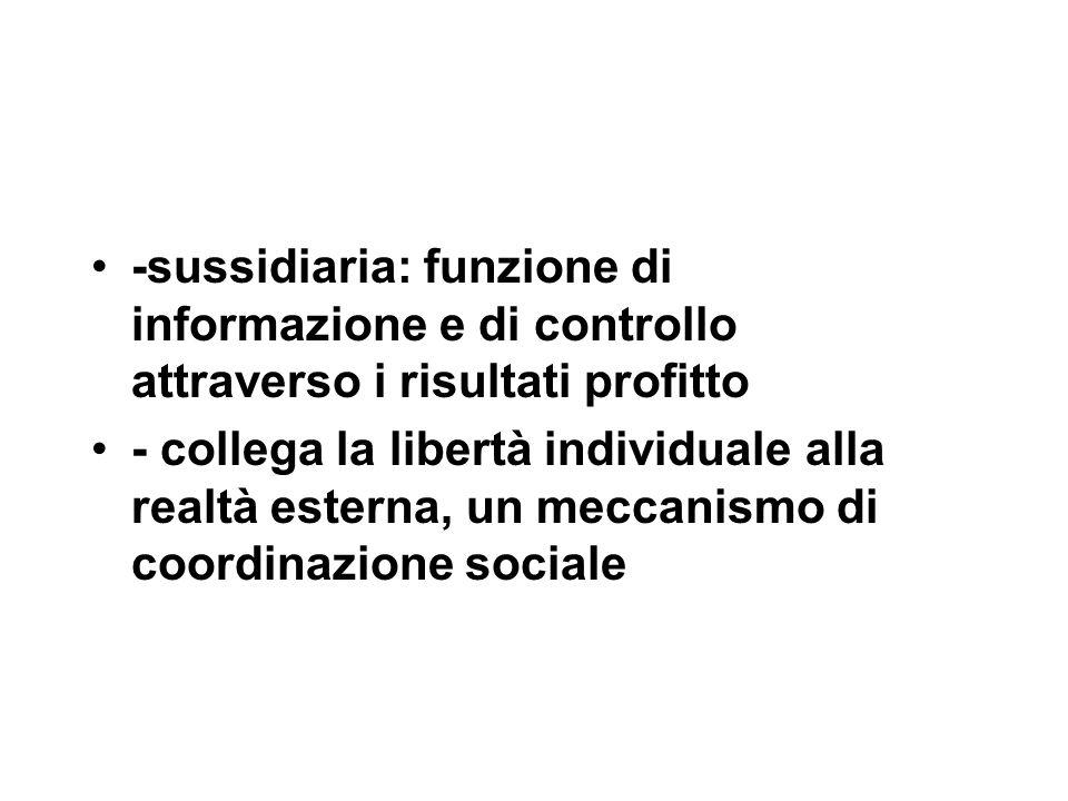 -sussidiaria: funzione di informazione e di controllo attraverso i risultati profitto - collega la libertà individuale alla realtà esterna, un meccanismo di coordinazione sociale