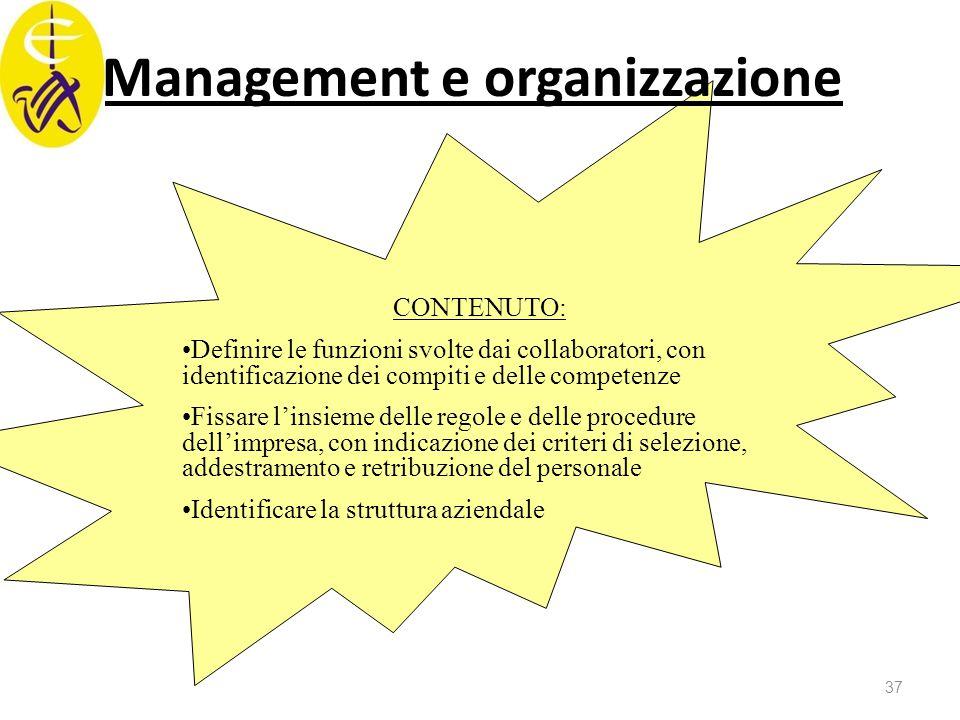 Management e organizzazione CONTENUTO: Definire le funzioni svolte dai collaboratori, con identificazione dei compiti e delle competenze Fissare l'ins