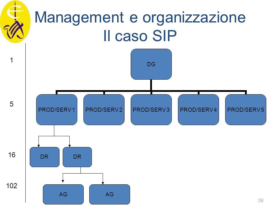 Management e organizzazione Il caso SIP DG PROD/SERV 1 PROD/SERV 2 PROD/SERV 3 PROD/SERV 4 PROD/SERV 5 DR AG 1 5 16 102 39