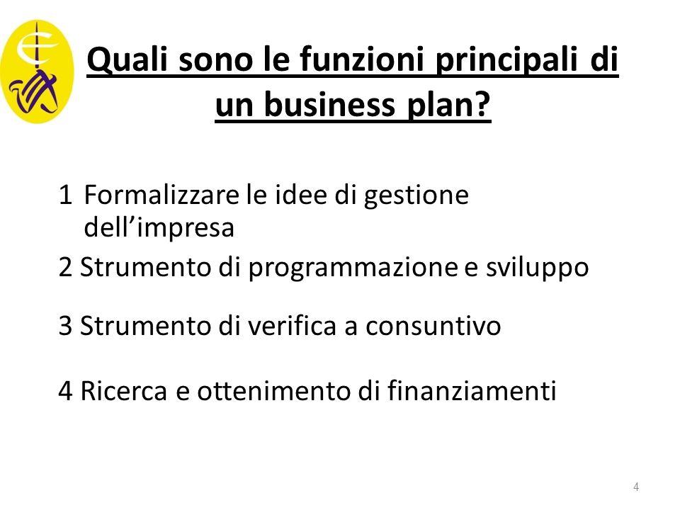 Quali sono le funzioni principali di un business plan? 1Formalizzare le idee di gestione dell'impresa 2 Strumento di programmazione e sviluppo 3 Strum