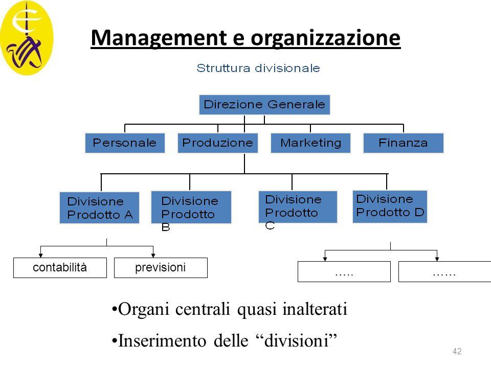 """Management e organizzazione Organi centrali quasi inalterati Inserimento delle """"divisioni"""" contabilitàprevisioni …..…… 42"""