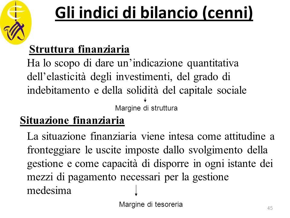 Gli indici di bilancio (cenni) Struttura finanziaria Ha lo scopo di dare un'indicazione quantitativa dell'elasticità degli investimenti, del grado di