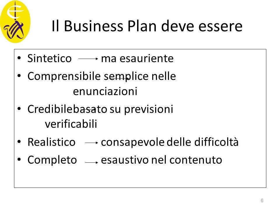 Il Business Plan deve essere Sintetico ma esauriente Comprensibile semplice nelle enunciazioni Credibilebasato su previsioni verificabili Realisticoco
