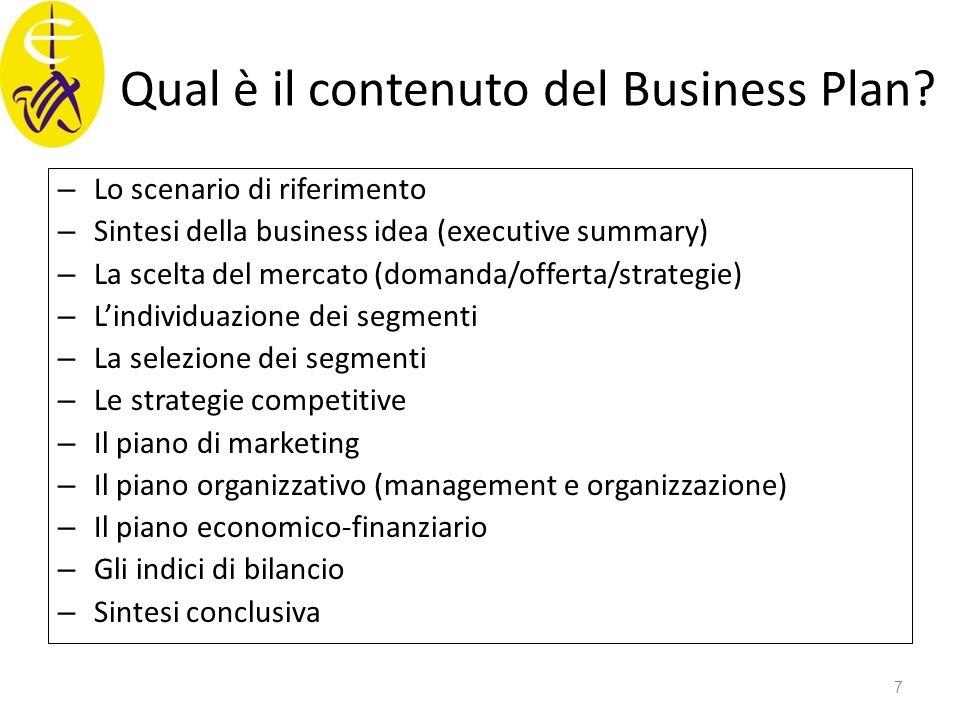 Qual è il contenuto del Business Plan? – Lo scenario di riferimento – Sintesi della business idea (executive summary) – La scelta del mercato (domanda