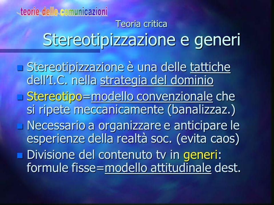 Teoria critica Gli effetti dei media n Media non semplice somma azioni o messaggi ma significati sovrapposti n La struttura multistratificata messaggi riflette la strategia di manipolazione I.C.