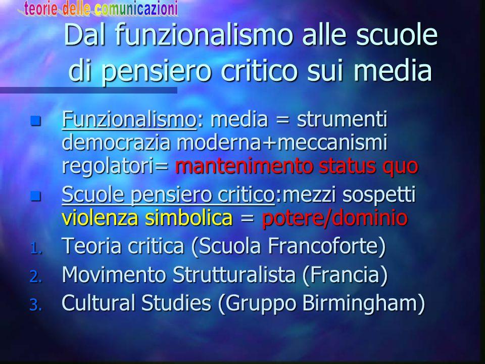 Dal funzionalismo alle scuole di pensiero critico sui media n Funzionalismo: media = strumenti democrazia moderna+meccanismi regolatori= mantenimento status quo n Scuole pensiero critico:mezzi sospetti violenza simbolica = potere/dominio 1.