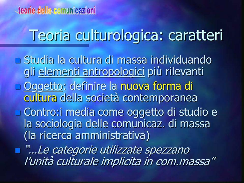 La teoria culturologica Ovvero La cultura di massa attraverso gli elementi antropologici + rapporto consumatore-oggetto di consumo