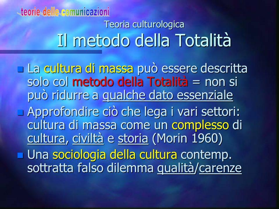 Teoria culturologica: caratteri n Studia la cultura di massa individuando gli elementi antropologici più rilevanti n Oggetto: definire la nuova forma di cultura della società contemporanea n Contro:i media come oggetto di studio e la sociologia delle comunicaz.