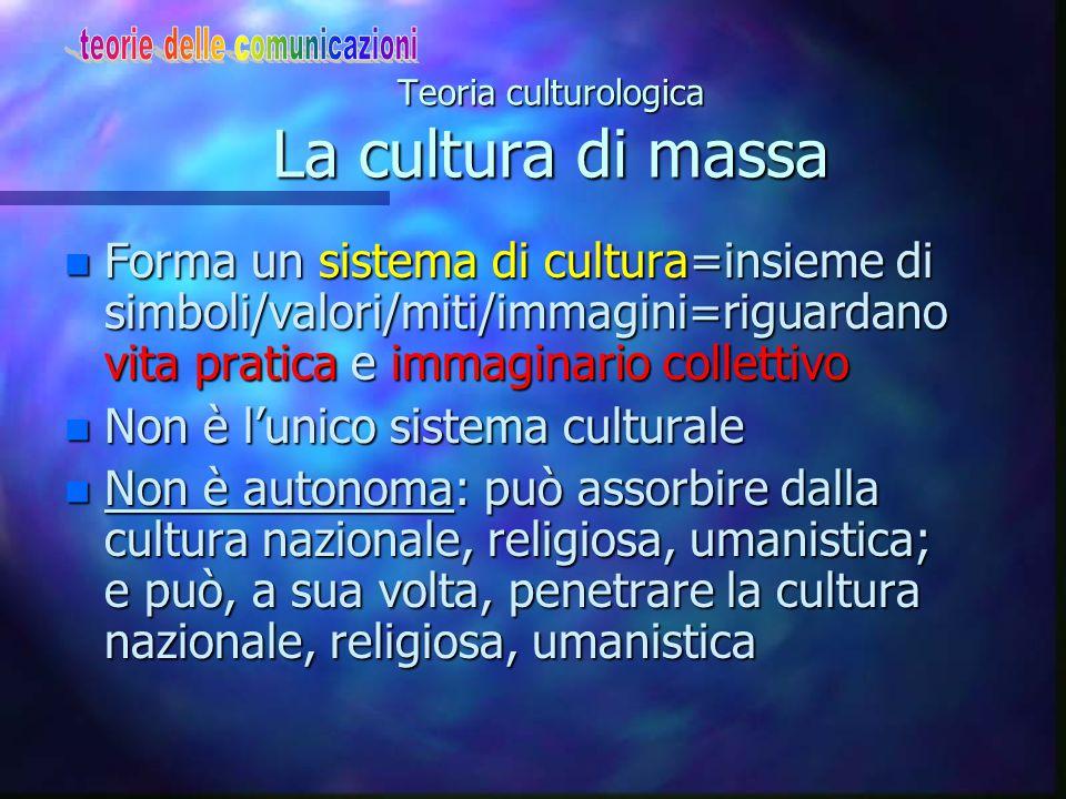 Teoria culturologica Il metodo della Totalità n La cultura di massa può essere descritta solo col metodo della Totalità = non si può ridurre a qualche dato essenziale n Approfondire ciò che lega i vari settori: cultura di massa come un complesso di cultura, civiltà e storia (Morin 1960) n Una sociologia della cultura contemp.