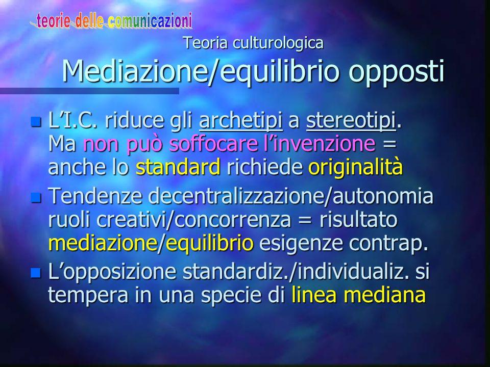 Teoria culturologica Tendenze contrapposte n Cultura di massa: l'oggetto è legato al suo carattere di prodotto industriale + al suo ritmo di consumo quotidiano n Dal vincolo produttivo/burocratico/tecni.