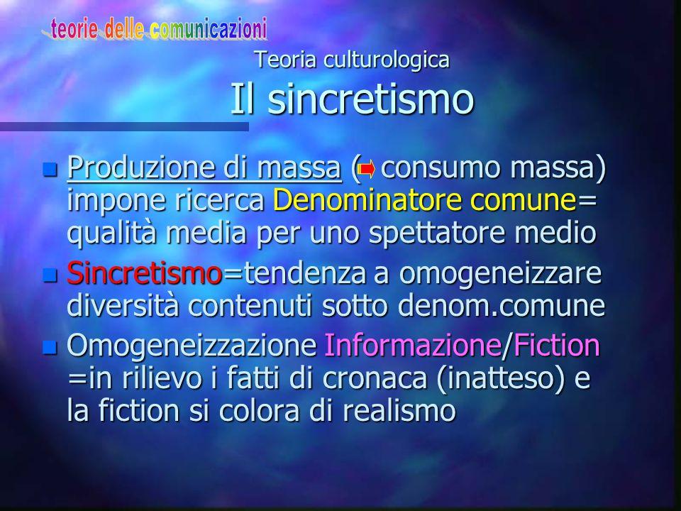 Teoria culturologica Mediazione/equilibrio opposti n L'I.C.