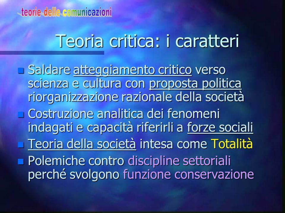 Teoria critica: uomini-caratteri n Istituto ricerca sociale–Francoforte n Horkheimer(filosofo)–Pollock(econom.) Adorno (mus.filos.)-Marcuse-Benjamin K