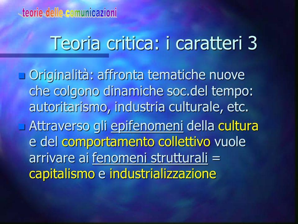 Teoria critica: i caratteri 3 n Originalità: affronta tematiche nuove che colgono dinamiche soc.del tempo: autoritarismo, industria culturale, etc.