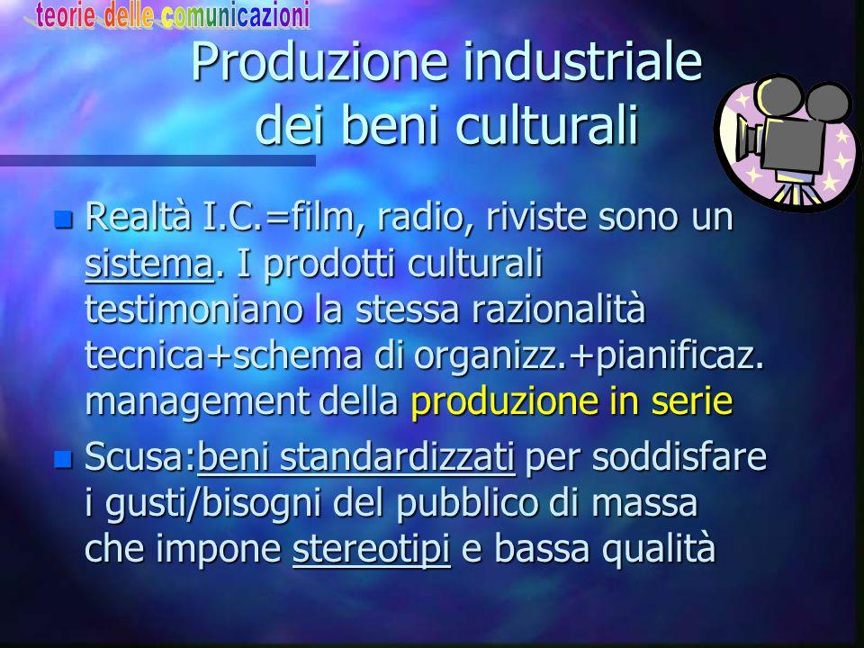 Teoria critica L'industria culturale n Il termine cultura di massa è sostituito da Industria culturale per evitare l'equivoco che sia forma d'arte popolare n Industria cult.