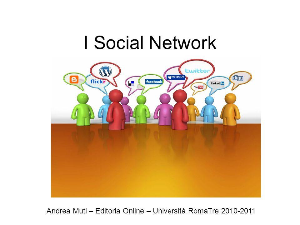 Cosa sono i social network Boyd ed Ellison* definiscono i social network come: servizi web che permettono agli utenti di: Costruire un profilo pubblico o semi pubblico all'interno di un perimetro circoscritto Articolare una lista di altri utenti con i quali condividere un legame/connessione Vedere e incrociare la propria lista di contatti e quelli fatti da altri all'interno del sistema D.M.Boyd and N.