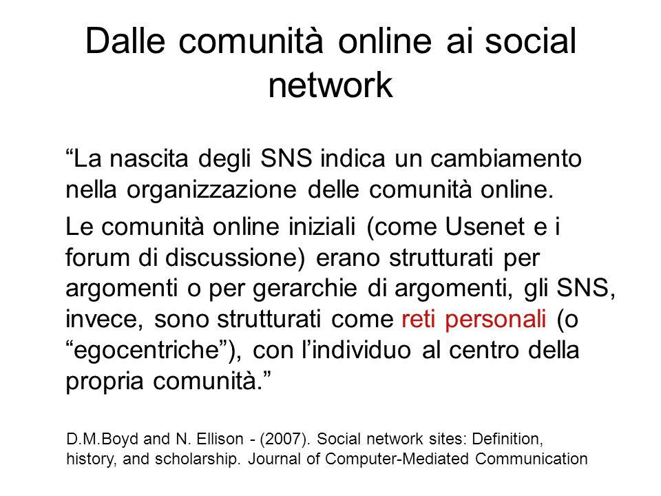 """Dalle comunità online ai social network """"La nascita degli SNS indica un cambiamento nella organizzazione delle comunità online. Le comunità online ini"""