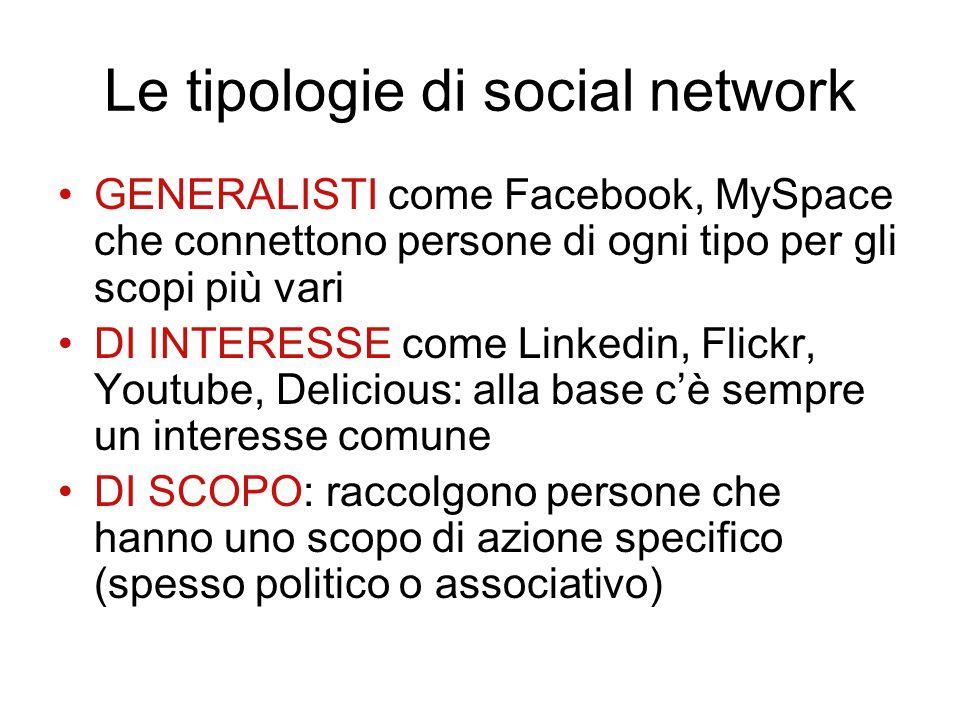 Le tipologie di social network GENERALISTI come Facebook, MySpace che connettono persone di ogni tipo per gli scopi più vari DI INTERESSE come Linkedi