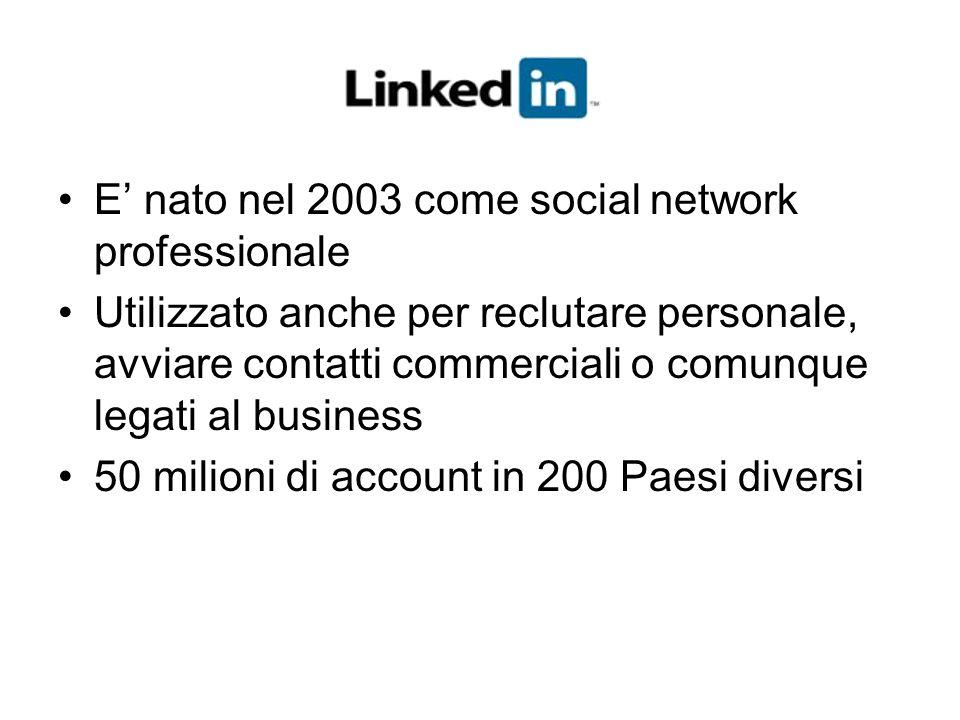 E' nato nel 2003 come social network professionale Utilizzato anche per reclutare personale, avviare contatti commerciali o comunque legati al busines