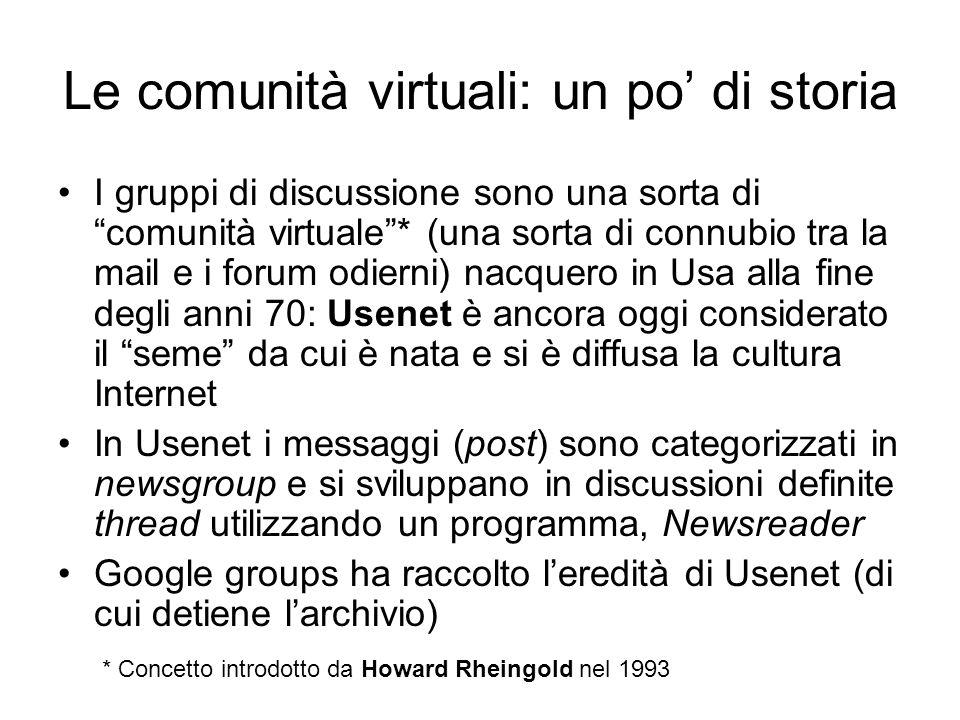 """Le comunità virtuali: un po' di storia I gruppi di discussione sono una sorta di """"comunità virtuale""""* (una sorta di connubio tra la mail e i forum odi"""