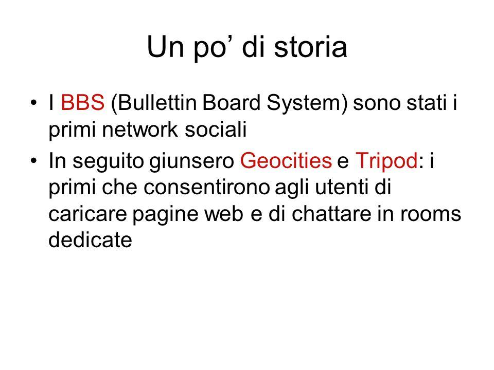 Un po' di storia I BBS (Bullettin Board System) sono stati i primi network sociali In seguito giunsero Geocities e Tripod: i primi che consentirono ag