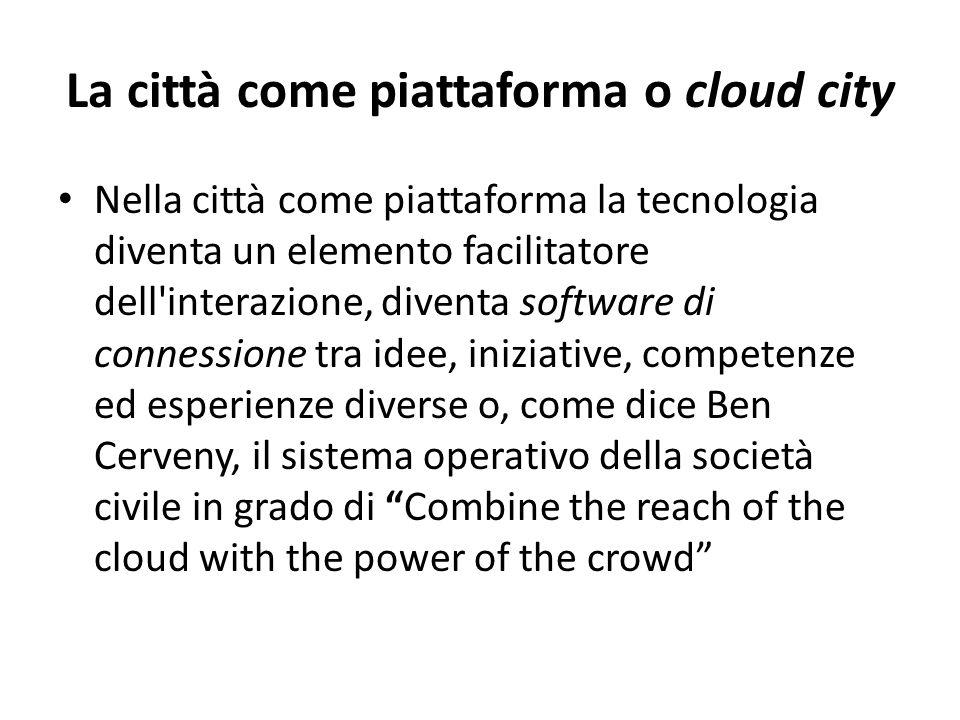 La città come piattaforma o cloud city Nella città come piattaforma la tecnologia diventa un elemento facilitatore dell'interazione, diventa software