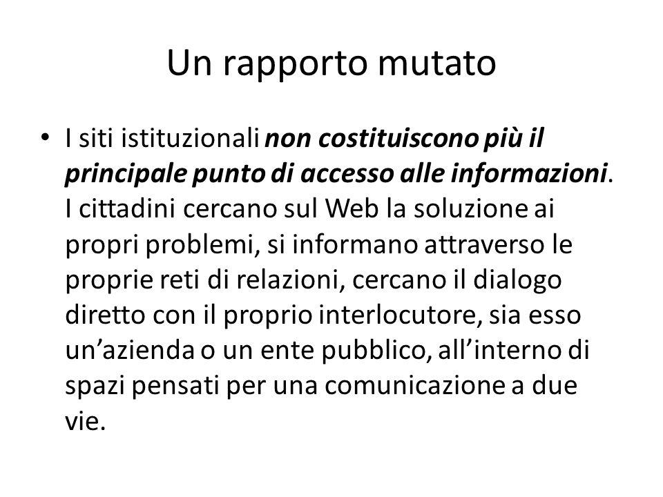 Un rapporto mutato I siti istituzionali non costituiscono più il principale punto di accesso alle informazioni. I cittadini cercano sul Web la soluzio