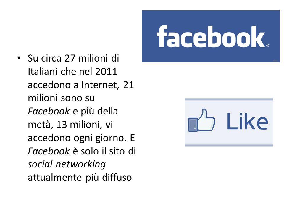 Su circa 27 milioni di Italiani che nel 2011 accedono a Internet, 21 milioni sono su Facebook e più della metà, 13 milioni, vi accedono ogni giorno. E