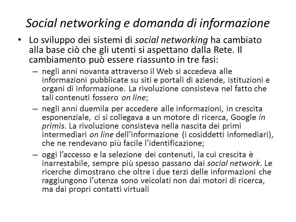 Social networking e domanda di informazione Lo sviluppo dei sistemi di social networking ha cambiato alla base ciò che gli utenti si aspettano dalla R