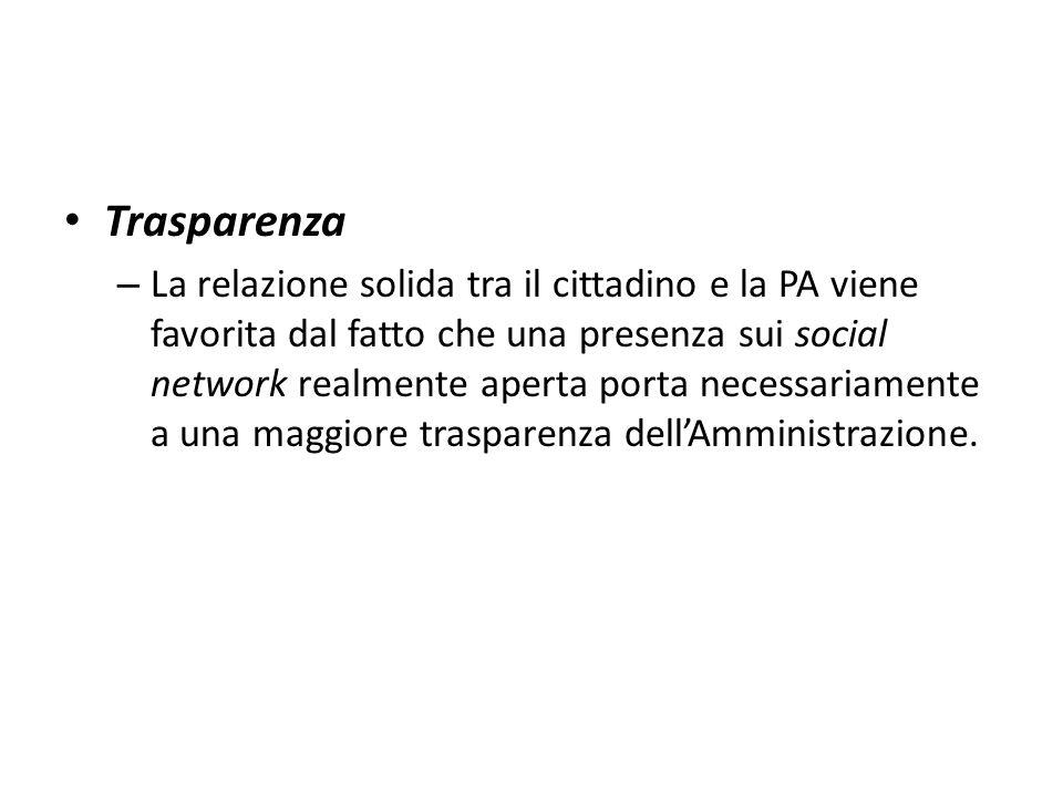 Trasparenza – La relazione solida tra il cittadino e la PA viene favorita dal fatto che una presenza sui social network realmente aperta porta necessa