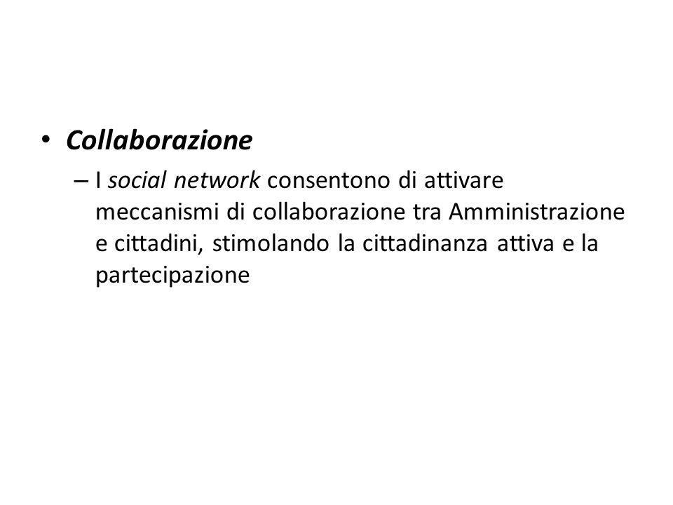 Collaborazione – I social network consentono di attivare meccanismi di collaborazione tra Amministrazione e cittadini, stimolando la cittadinanza atti
