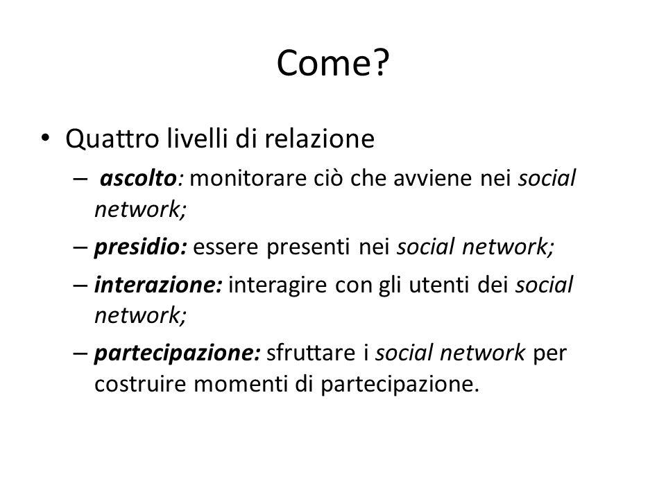 Come? Quattro livelli di relazione – ascolto: monitorare ciò che avviene nei social network; – presidio: essere presenti nei social network; – interaz