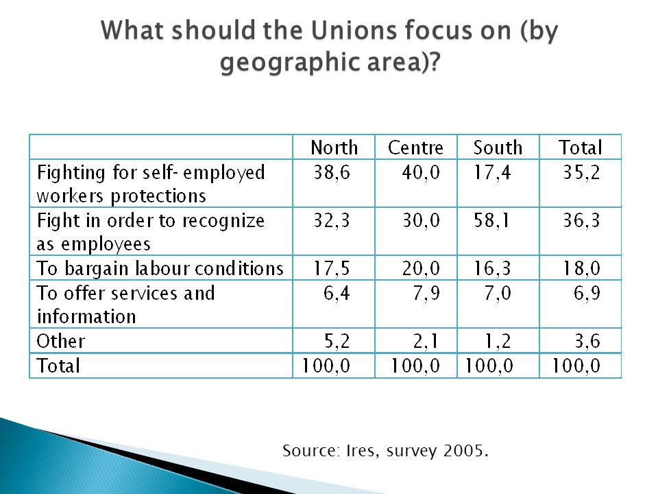What should the Unions focus on (by geographic area) Source: Ires, survey 2005.
