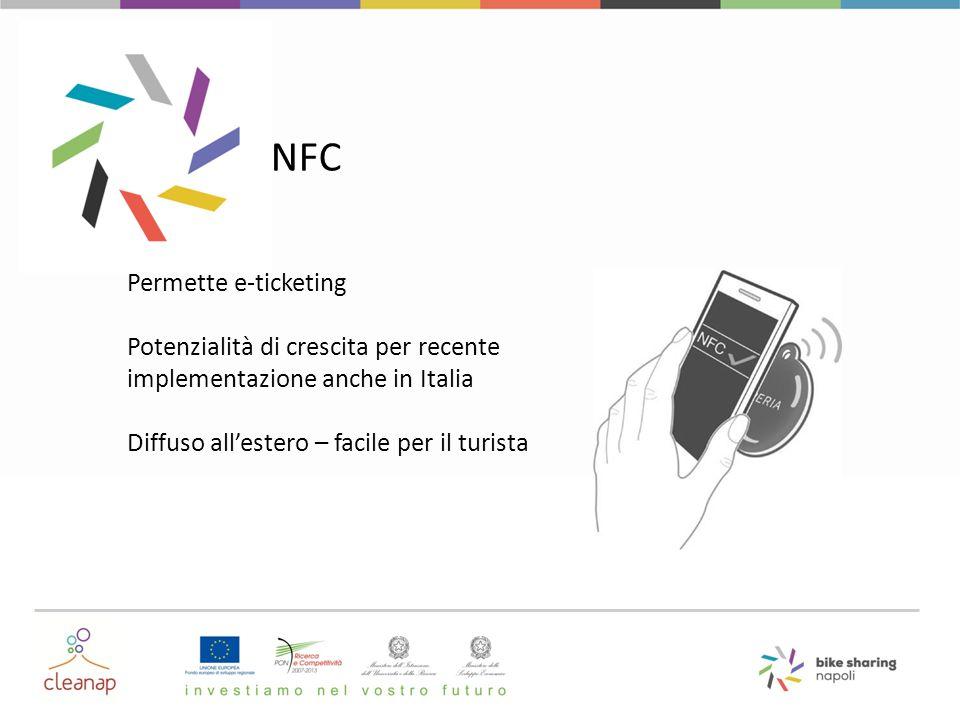 NFC Permette e-ticketing Potenzialità di crescita per recente implementazione anche in Italia Diffuso all'estero – facile per il turista