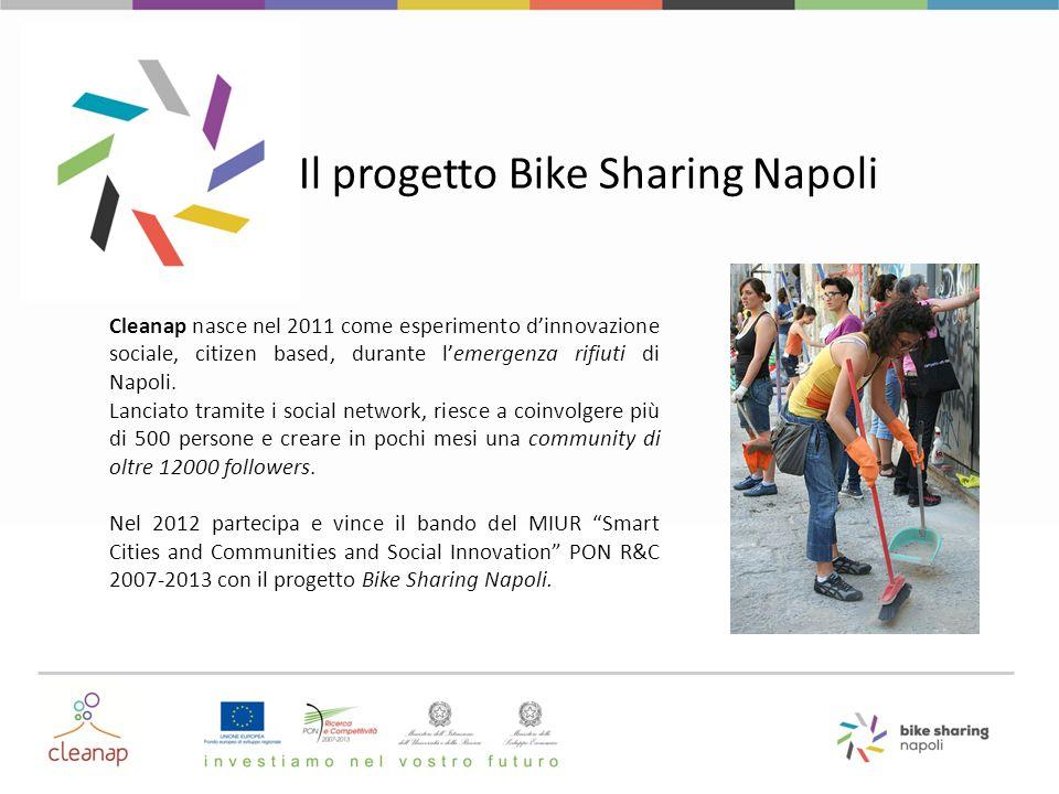Il progetto Bike Sharing Napoli Cleanap nasce nel 2011 come esperimento d'innovazione sociale, citizen based, durante l'emergenza rifiuti di Napoli. L