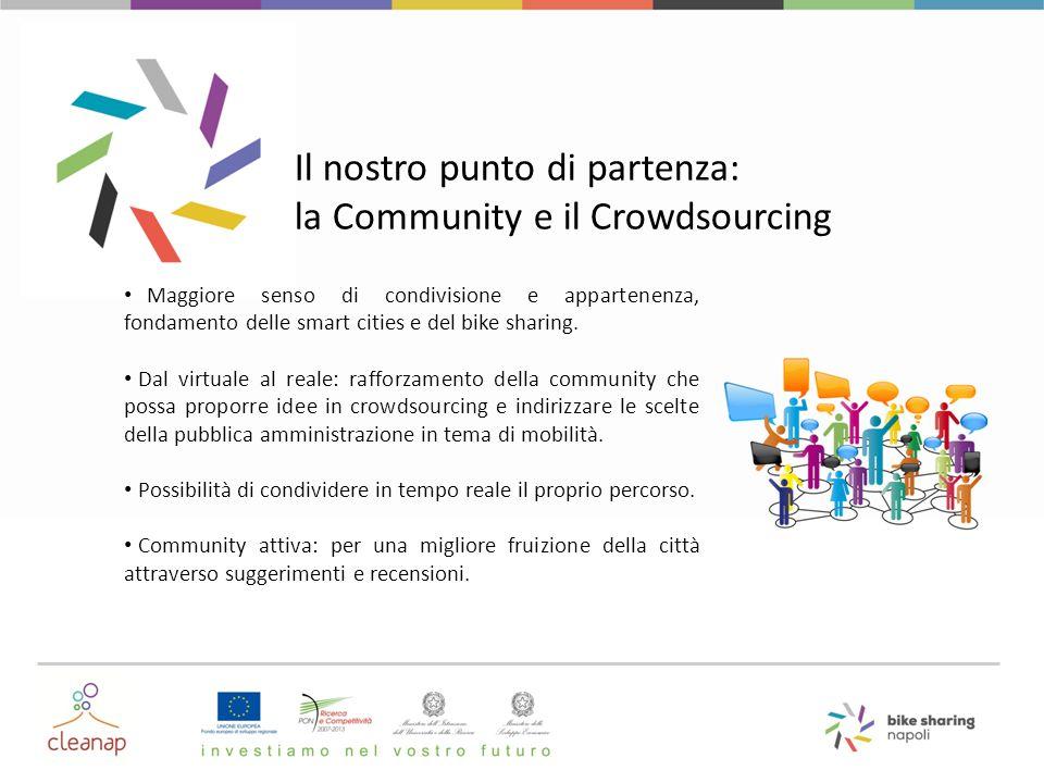 Il nostro punto di partenza: la Community e il Crowdsourcing Maggiore senso di condivisione e appartenenza, fondamento delle smart cities e del bike s