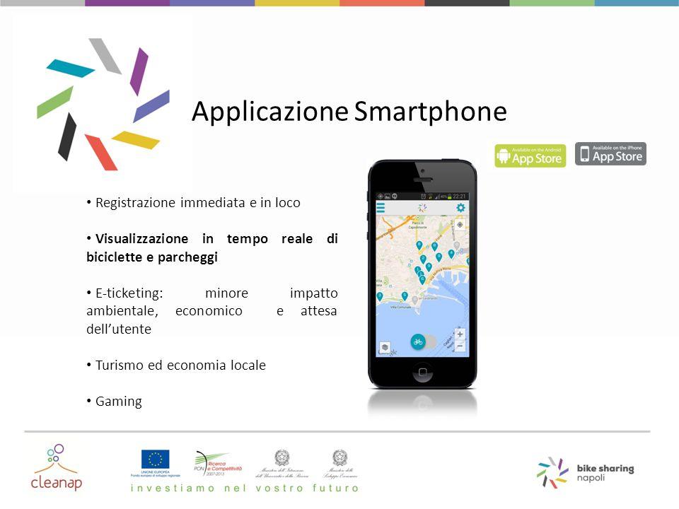 Applicazione Smartphone Registrazione immediata e in loco Visualizzazione in tempo reale di biciclette e parcheggi E-ticketing: minore impatto ambient