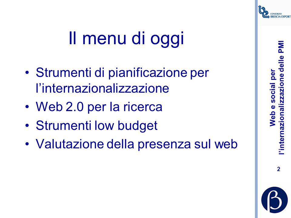 Web e social per l'internazionalizzazione delle PMI 2 Il menu di oggi Strumenti di pianificazione per l'internazionalizzazione Web 2.0 per la ricerca Strumenti low budget Valutazione della presenza sul web