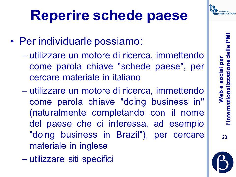 Web e social per l'internazionalizzazione delle PMI 22 Reperire schede paese Si distinguono in: –Schede in italiano destinate ad aziende italiane –Sch