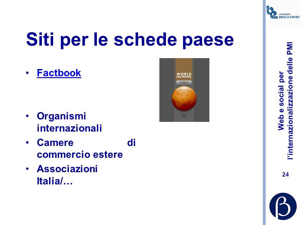 Web e social per l'internazionalizzazione delle PMI 23 Reperire schede paese Per individuarle possiamo: –utilizzare un motore di ricerca, immettendo c