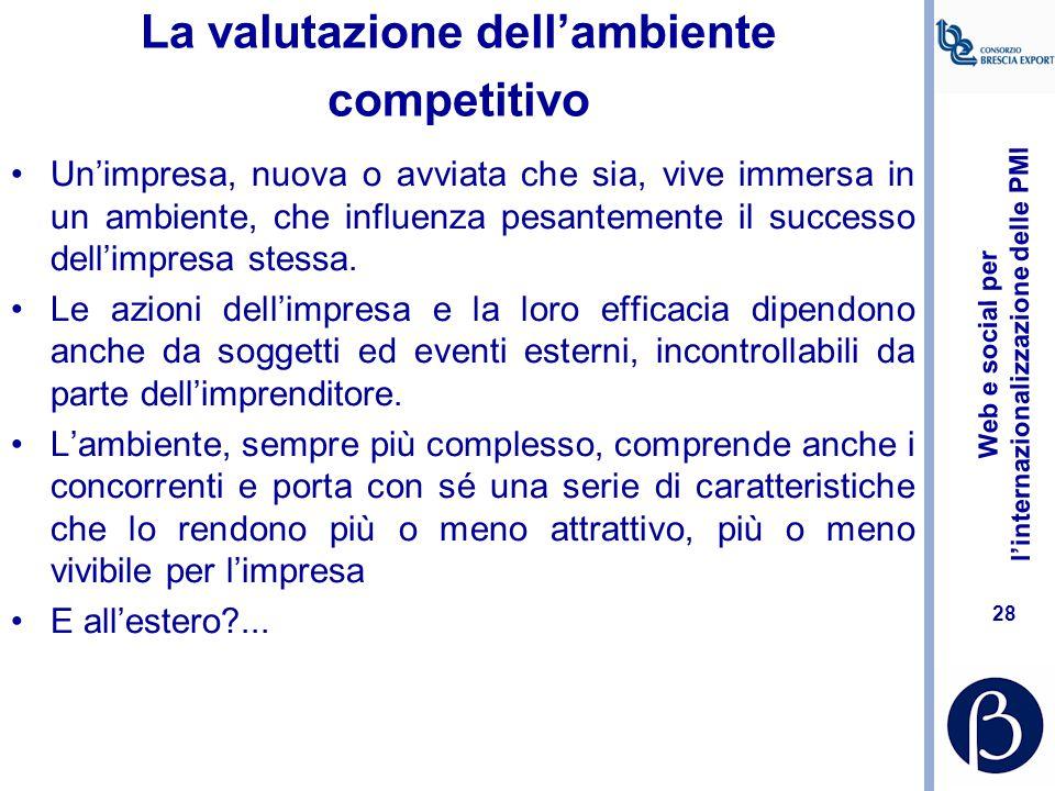 Web e social per l'internazionalizzazione delle PMI 27 Reperire ricerche esistenti Grandi database a pagamento: –www.databank.it (italiano)www.databan