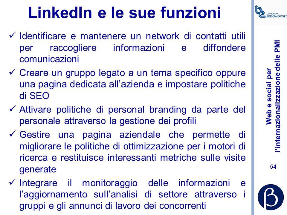 Web e social per l'internazionalizzazione delle PMI 53 Identificare controparti all'estero: il ruolo dei social media http://www.promos- milano.it/Inf