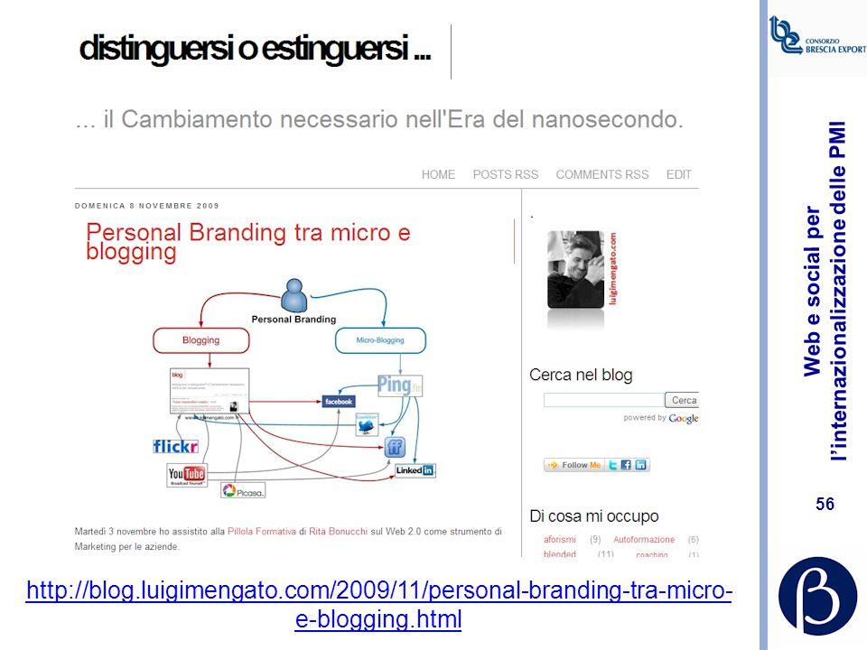 Web e social per l'internazionalizzazione delle PMI 55 Esempio di ricerca avanzata su LinkedIn