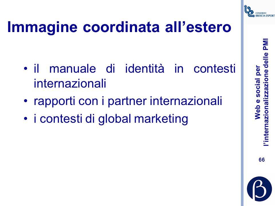 Web e social per l'internazionalizzazione delle PMI 65 Alcuni strumenti BRANDING E NAMING IMMAGINE COORDINATA MATERIALI COLLATERALI DIRECT MARKETING P