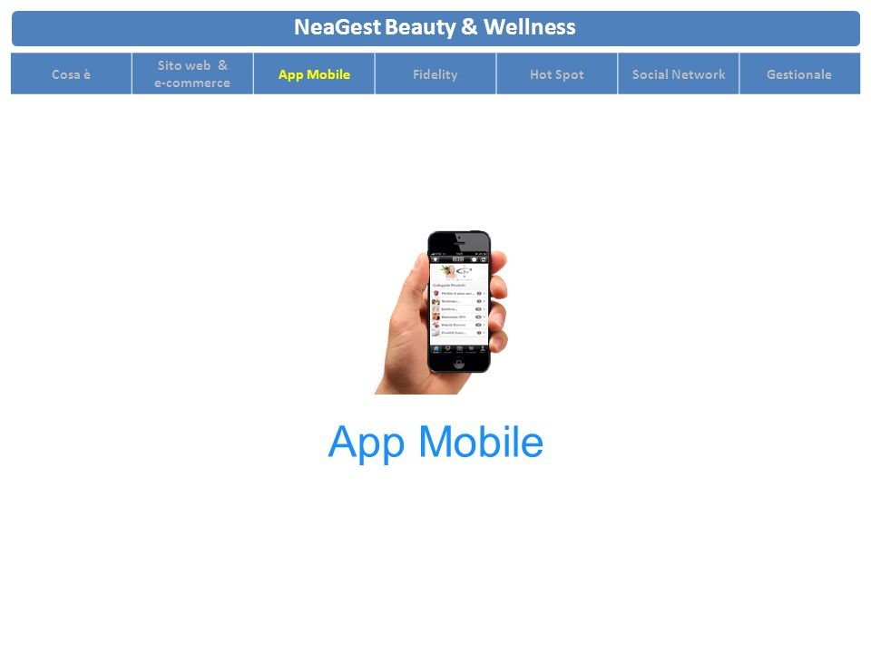 NeaGest Beauty & Wellness Cosa è Sito web & e-commerce App MobileFidelityHot SpotSocial NetworkGestionale App Mobile