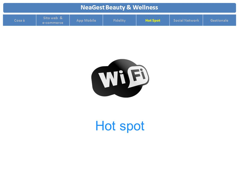 NeaGest Beauty & Wellness Cosa è Sito web & e-commerce App MobileFidelityHot SpotSocial NetworkGestionale Hot spot